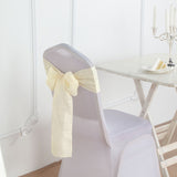5 Pack | Ivory Linen Chair Sashes, Slubby Textured Wrinkle Resistant Sashes