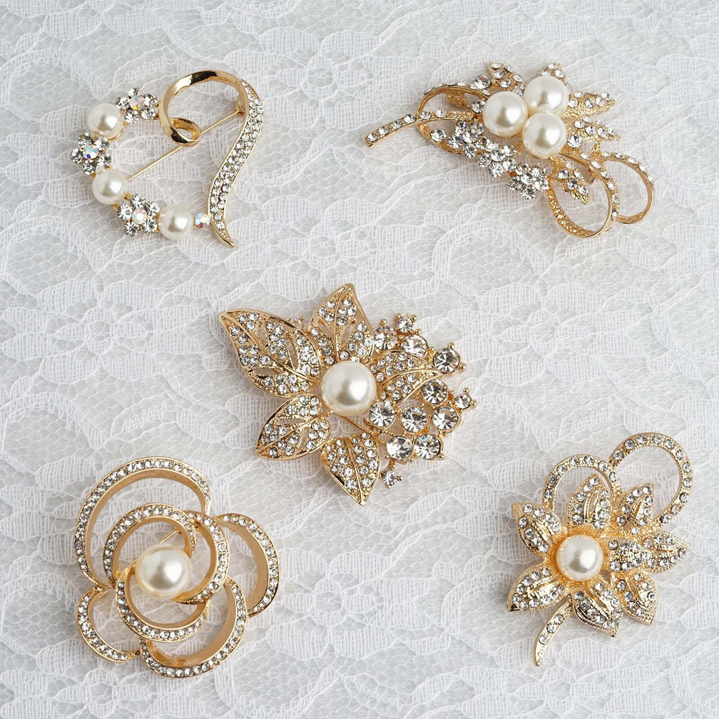 Rhinestone Pearl Brooch Without Pin Assorted Mixed Pack 5 pcs