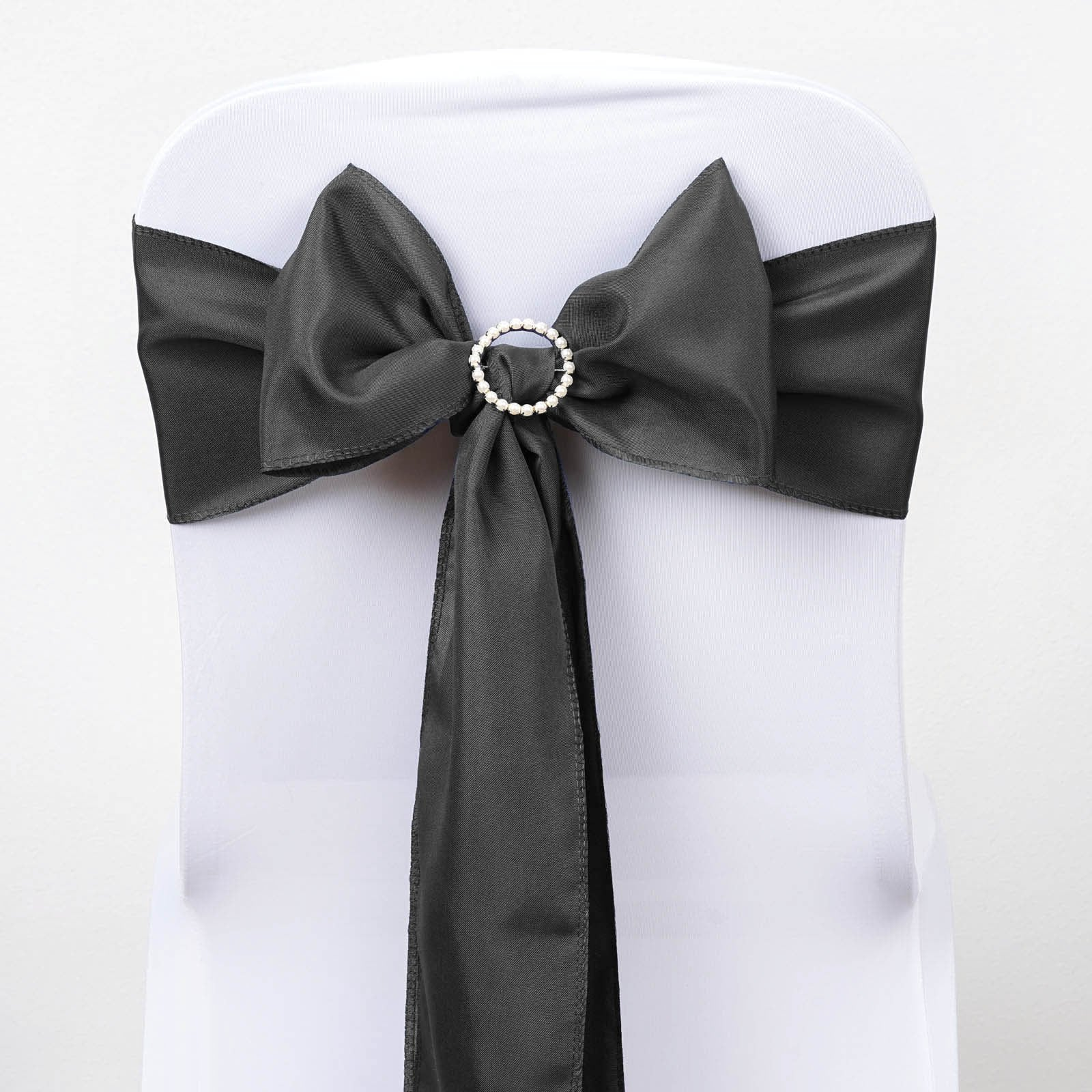5 Pcs Charcoal Grey Polyester Chair Sashes Tie Bows Catering Wedding