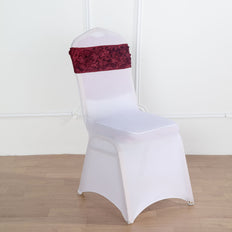 "5 pack | 6""x14"" Burgundy Satin Rosette Spandex Stretch Chair Sash 
