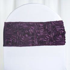 "5 pack | 6""x14"" Eggplant Satin Rosette Spandex Stretch Chair Sash"