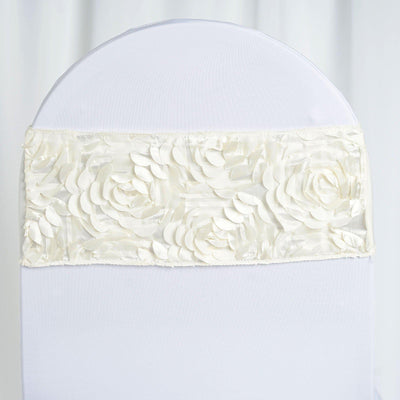 "5 pack | 6""x14"" Ivory Satin Rosette Spandex Stretch Chair Sash"