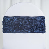 "5 pack | 6""x14"" Navy Blue Satin Rosette Spandex Stretch Chair Sash"