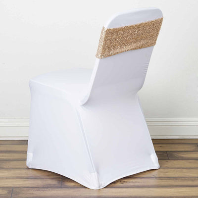 5 pack | 6x15 Champagne Sequin Spandex Chair Sash