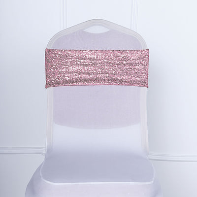 5 pack | Rose Gold Sequin Spandex Chair Sash