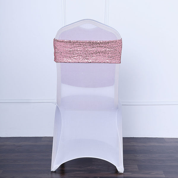 "5 pack | 6""x15"" Rose Gold Sequin Spandex Chair Sash"