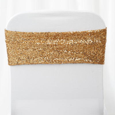 "5 pack | 6""x15"" Gold Sequin Spandex Chair Sash"