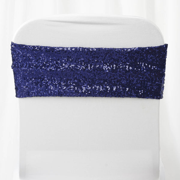 "5 pack | 6""x15"" Navy Blue Sequin Spandex Chair Sash"