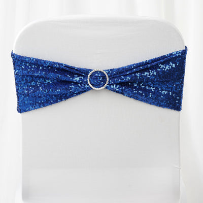 "5 pack | 6""x15"" Royal Blue Sequin Spandex Chair Sash"