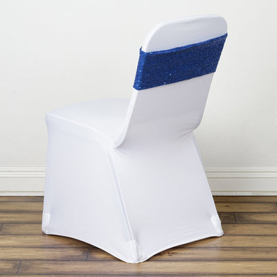 5 pack | 6x15 Royal Blue Sequin Spandex Chair Sash