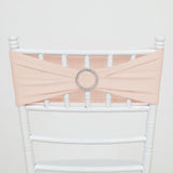 5 pack | 5x14inch Blush | Rose Gold Spandex Stretch Chair Sash with Silver Diamond Ring Slide Buckle