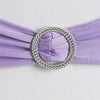 "5 pack | 5""x14"" Lavender Spandex Stretch Chair Sash with Silver Diamond Ring Slide Buckle#whtbkgd"