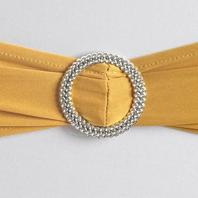 "5 pack | 5""x14"" Gold Spandex Stretch Chair Sash with Silver Diamond Ring Slide Buckle#whtbkgd"