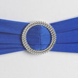 "5 pack | 5""x14"" Royal Blue Spandex Stretch Chair Sash with Silver Diamond Ring Slide Buckle#whtbkgd"