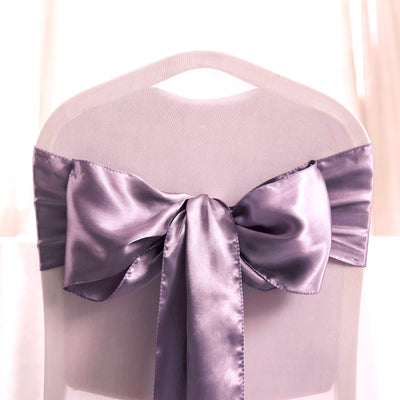 "5 pack | 6""x106"" Amethyst Satin Chair Sashes"
