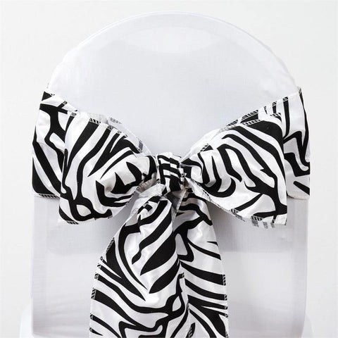 5 pcs black white taffeta zebra print chair sashes catering 5pcs tafetta zebra print sashes for tie bows catering wedding party decorations blackwhite junglespirit