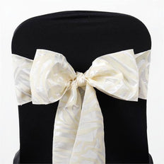 "6x108"" Ivory Taffeta Zebra Print Chair Sashes 