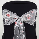 5 PCS White Sheer Organza Chair Sash With Cherry Blossom Design For Wedding Party Decorations
