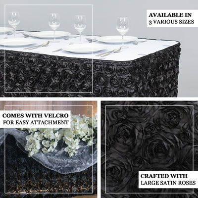 17FT Wholesale Rosette 3D Satin Table Skirt For Restaurant Party Event Decoration - BLACK