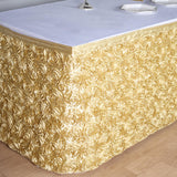 14 FT Champagne 3D Rosette Satin Table Skirt