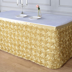 17 FT Champagne 3D Rosette Satin Table Skirt