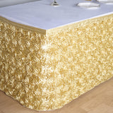 21 FT Champagne 3D Rosette Satin Table Skirt