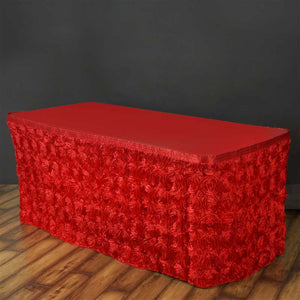 17FT Wholesale Rosette 3D Satin Table Skirt For Restaurant Party Event Decoration - RED