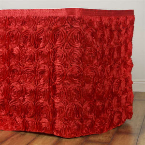 21FT Wholesale Rosette 3D Satin Table Skirt For Restaurant Party Event Decoration - RED