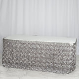 21 FT Silver 3D Rosette Satin Table Skirt