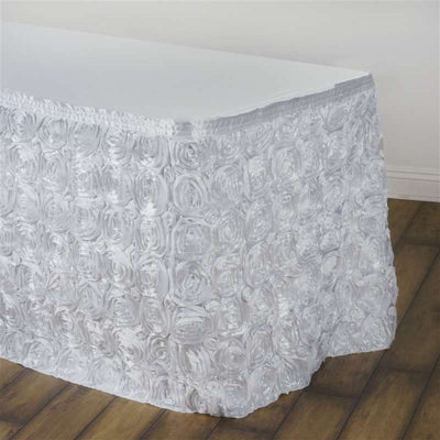 14FT Wholesale Rosette 3D Satin Table Skirt For Restaurant Party Event Decoration - WHITE