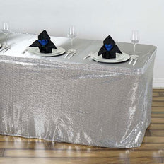 17FT Silver Glitzy Sequin Table Skirts