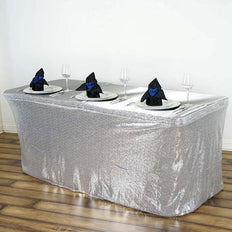 21FT Silver Glitzy Sequin Table Skirts