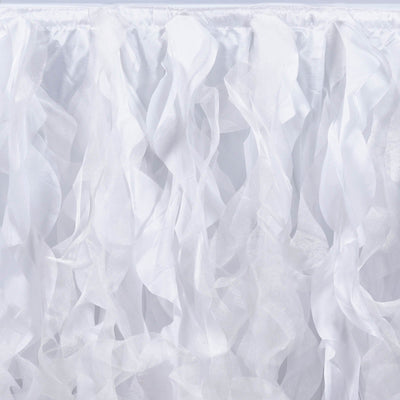 21FT White Curly Willow Taffeta Table Skirt#whtbkgd