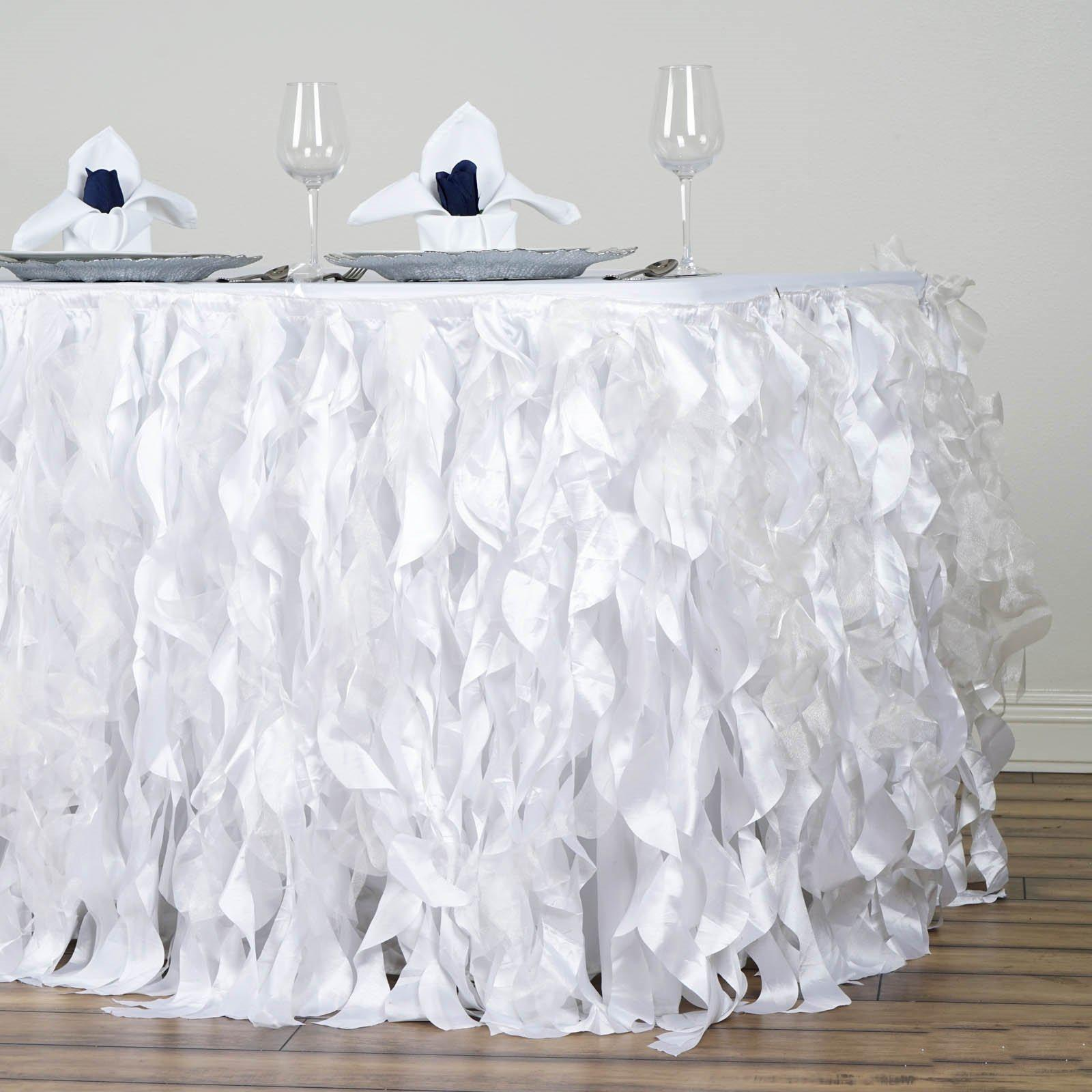 21ft White Curly Willow Taffeta Table Skirt Tableclothsfactory