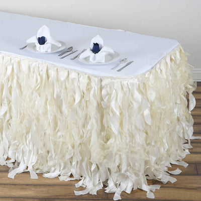 14FT Wholesale Ivory Enchanting Pleated Curly Willow Taffeta Wedding Party Table Skirt