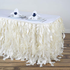 17FT Ivory Curly Willow Taffeta Table Skirt