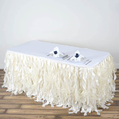 21FT Ivory Curly Willow Taffeta Table Skirt