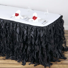 14FT Black Curly Willow Taffeta Table Skirt