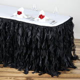 17FT Wholesale Black Enchanting Pleated Curly Willow Taffeta Wedding Party Table Skirt