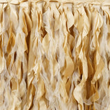 17ft Enchanting Curly Willow Taffeta Table Skirt - Champagne