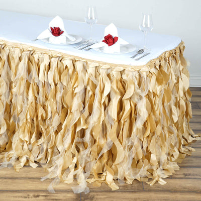 17FT Champagne Curly Willow Taffeta Table Skirt