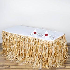 21FT Champagne Curly Willow Taffeta Table Skirt