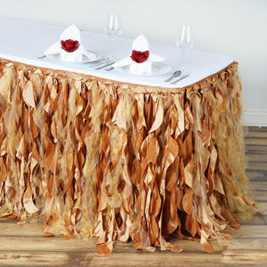 17FT Gold Curly Willow Taffeta Table Skirt