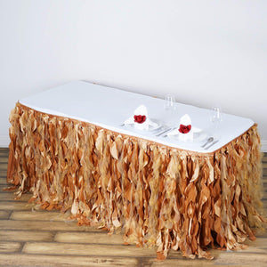 21FT Gold Curly Willow Taffeta Table Skirt