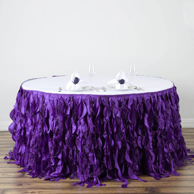 14ft Enchanting Curly Willow Taffeta Table Skirt - Purple
