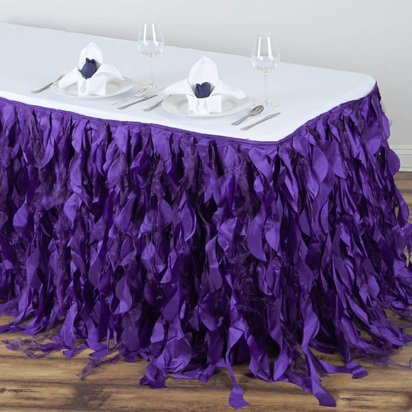 14FT Purple Curly Willow Taffeta Table Skirt