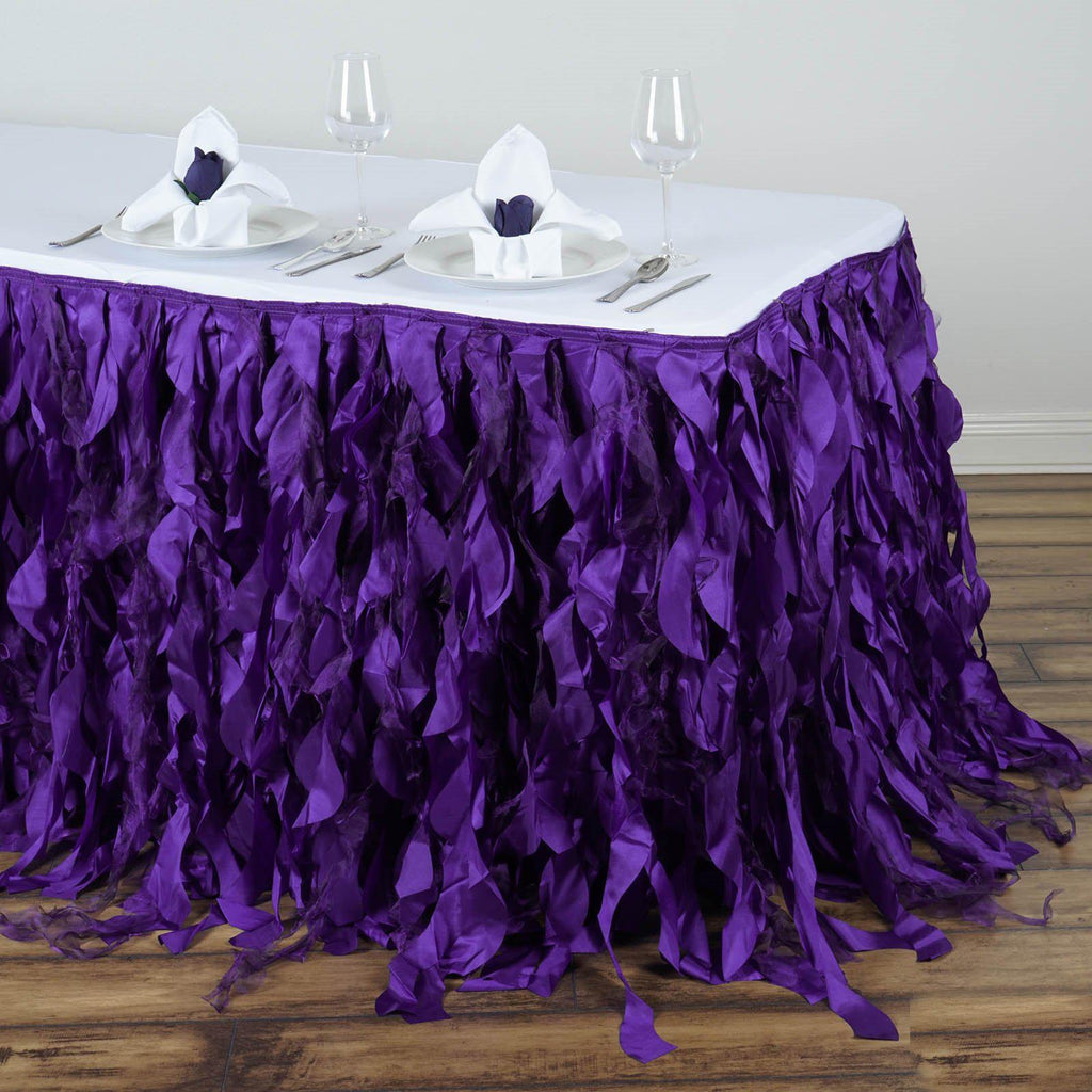 17ft Enchanting Curly Willow Taffeta Table Skirt Purple