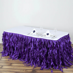 21FT Wholesale Purple Enchanting Pleated Curly Willow Taffeta Wedding Party Table Skirt