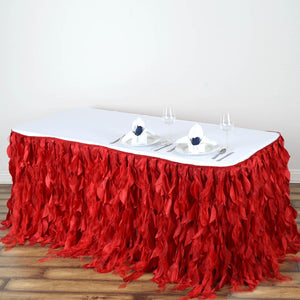 21FT Red Curly Willow Taffeta Table Skirt