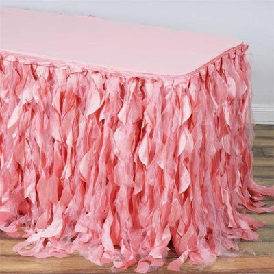 17FT Rose Quartz Curly Willow Taffeta Table Skirt - Clearance SALE